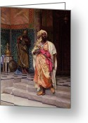 Orientalist Greeting Cards - The Emir Greeting Card by Ludwig Deutsch