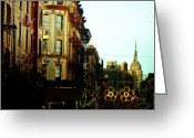 Nyc Cityscape Greeting Cards - The Empire State Building and Little Italy - New York City Greeting Card by Vivienne Gucwa