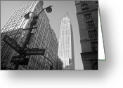 Manhattan Street Scenes Greeting Cards - The Empire State Building in New York City Greeting Card by Ilker Goksen