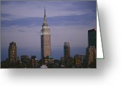 City Skylines Greeting Cards - The Empire State Building Towers Greeting Card by Todd Gipstein