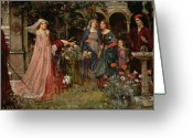 John William Waterhouse Greeting Cards - The Enchanted Garden Greeting Card by John William Waterhouse