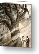 Monotone Painting Greeting Cards - The Encounter Greeting Card by Arline Wagner