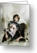 Angel Digital Art Greeting Cards - The End is Nigh Greeting Card by Karen Koski