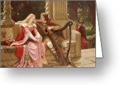 Lover Greeting Cards - The End of the Song Greeting Card by Edmund Blair Leighton