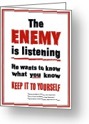 Warishellstore Greeting Cards - The Enemy Is Listening Greeting Card by War Is Hell Store