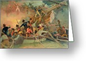 Fighting Painting Greeting Cards - The English navy conquering a French ship near the Cape Camaro Greeting Card by English School
