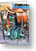 Riding Boots Photo Greeting Cards - The English Saddle Greeting Card by Paul Ward