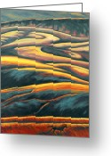 Landscape Painter Greeting Cards - The Enigmatic Hills Greeting Card by Gina Grundemann