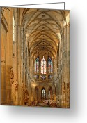 Religious Building Greeting Cards - The enormous interior of St. Vitus Cathedral Prague Greeting Card by Christine Till
