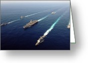 Aircraft Carrier Greeting Cards - The Enterprise Carrier Strike Group Greeting Card by Stocktrek Images