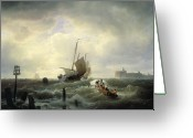 Rough-seas Greeting Cards - The Entrance to the Harbour at Hellevoetsluys Greeting Card by Andreas Achenbach