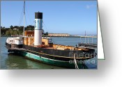 Ggbridge Greeting Cards - The Eppleton Hall . A 1914 Steam Sidewheeler Tug Boat At The Hyde Street Pier in SF . 7D14123 Greeting Card by Wingsdomain Art and Photography