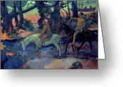 Gauguin; Paul (1848-1903) Greeting Cards - The Escape Greeting Card by Paul Gauguin