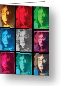 "\\\""photo Manipulation\\\\\\\"" Pastels Greeting Cards - The Essence of Light- John Lennon Greeting Card by Jimi Bush"