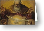 Seraph Greeting Cards - The Eternal Father Greeting Card by Paolo Caliari Veronese