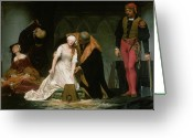Grey Painting Greeting Cards - The Execution of Lady Jane Grey Greeting Card by Hippolyte Delaroche