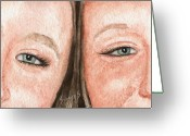 Twins Greeting Cards - The Eyes Have It- K and K Greeting Card by Sam Sidders
