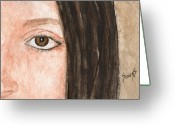 Girl Portrait Greeting Cards - The Eyes Have It- Katelyn Greeting Card by Sam Sidders