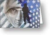 Ptsd Greeting Cards - The Face Behind The Soldier Greeting Card by Jeff Stephens