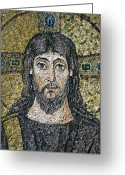 Christ Reliefs Greeting Cards - The face of Christ Greeting Card by Byzantine School