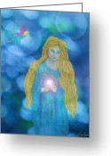 Magic Pastels Greeting Cards - The Faery Gift Greeting Card by Diana Haronis