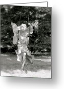 Fairy Statue Photo Greeting Cards - The Faery Swing Greeting Card by Aimee Mouw