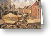 Vendor Greeting Cards - The Fair in Dieppe Greeting Card by Camille Pissarro