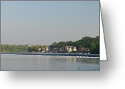 Boathouse Row Greeting Cards - The Fairmount Dam and Boathouse Row Greeting Card by Bill Cannon
