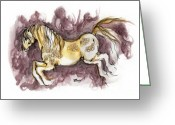 Equine Watercolor Portrait Greeting Cards - The Fairytale Horse 1 Greeting Card by Angel  Tarantella