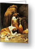 Dogs Painting Greeting Cards - The Faith of Saint Bernard Greeting Card by John Emms