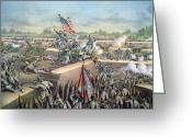 Last To Fall Greeting Cards - The Fall of Petersburg to the Union Army 2nd April 1965 Greeting Card by American School