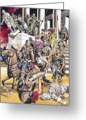 Barbarian Greeting Cards - The Fall of the Roman Empire in the West Greeting Card by Ron Embleton