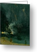 Illuminations Greeting Cards - The Falling Rocket Greeting Card by James Abbott Whistler