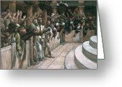 Trial Greeting Cards - The False Witness Greeting Card by Tissot