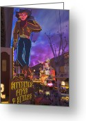 Fremont Street Greeting Cards - The Famous Ivegas Vici Neon Cowboy Stands Among Other Signs On Fremont Street In The Iglitter Gulchi Gaming Area Of Las Vegas, Nv Greeting Card by David Davis