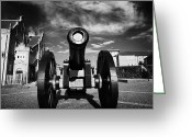 Canons Greeting Cards - The Famous Roaring Meg Cannon On The Mall Wall And Double Bastion Section Of Derrys Walls Greeting Card by Joe Fox