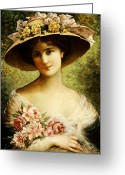 Half Length Greeting Cards - The Fancy Bonnet Greeting Card by Emile Vernon