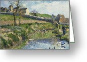 Signature Greeting Cards - The Farm at Osny Greeting Card by Camille Pissarro