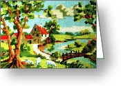 Scenic Tapestries - Textiles Greeting Cards - The Farm House Greeting Card by Farah Faizal