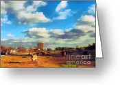 Gold Lame Painting Greeting Cards - The farm Greeting Card by Odon Czintos