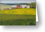 Contry Greeting Cards - The Farm on a Dandelion Field Sawyerville Quebec Canada Greeting Card by Francois Fournier