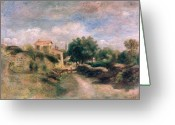 French Landscape Greeting Cards - The Farm Greeting Card by Renoir