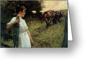 Shepherdess Painting Greeting Cards - The Farmers Daughter Greeting Card by Henry Herbert La Thangue
