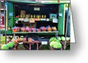 Watermelon Photo Greeting Cards - The farmers market Greeting Card by Paul Ward