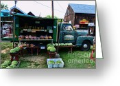 Watermelon Photo Greeting Cards - The Farmers Truck Greeting Card by Paul Ward
