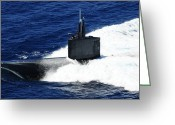 Submarines Greeting Cards - The Fast-attack Submarine Uss Greeting Card by Stocktrek Images
