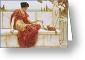 Greek Sculpture Painting Greeting Cards - The Favorite Greeting Card by John William Godward