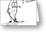 Banana Drawings Greeting Cards - The Fear Of Cookies Greeting Card by Karl Addison