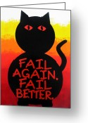 Chic Painting Greeting Cards - The Fearline of Failure Greeting Card by Oliver Johnston