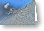 Barbed Wire Fences Photo Greeting Cards - The Fence Greeting Card by John King